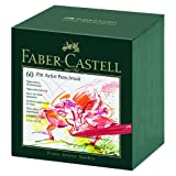 Faber Castell 60 Piece Pitt Artist Brush Pen Set Gift Box (Color: White/Black/Orange/Brown/Assorted, Tamaño: 4 oz)