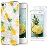 iPod Touch 7th Generation Case with 2 Screen Protectors, IDWELL iPod Touch 6 Case, iPod 5 Case, Slim FIT Anti-Scratch Flexible Soft TPU Bumper Hybrid Shockproof Protective Cover, Yellow Pineapple (Color: Yellow Pineapple)