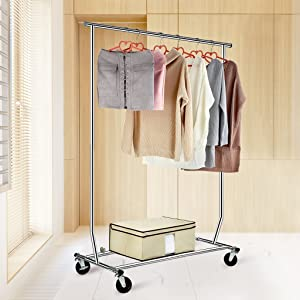 LANGRIA Heavy Duty Garment Rack Commercial Grade Adjustable Clothing Supreme Rolling Steel Clothes Chrome Finish