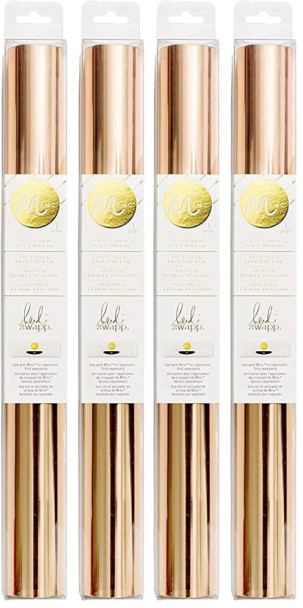 Heidi Swapp MINC Application Machine Reactive Foil by American Crafts | 12-inch x 120-inch Rose Gold Foil Roll (369975) (F?ur Pa?k) (Tamaño: F?ur Pa?k)