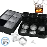 VOLOOP Reusable Silicone Ice Cube Trays | 2 Inch Large Sphere Round Ice Ball maker & Square Ice Cube Molds | Upgraded Design Preventing Leakage | BPA Free for Whiskey Cocktail | Set of 2 & free funnel