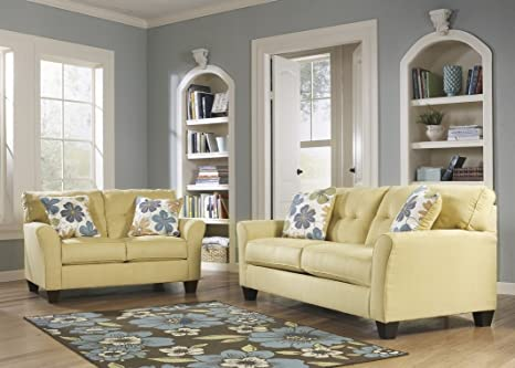 Contemporary Sofa Goldenrod Upholstery