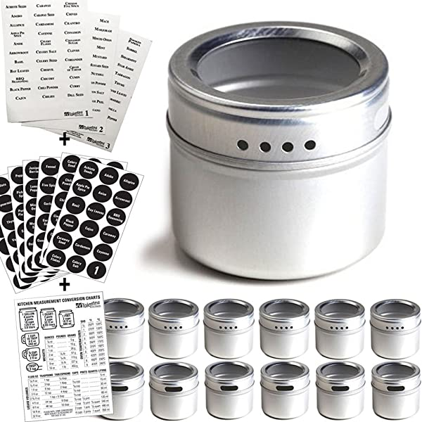 12 Magnetic Spice Tins 2 Types Of Spice Labels Authentic By