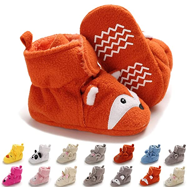Hsnikabe Baby Boy Girl Booties Cotton Non Skid Infant Nweborn Slippers Winter Warm Socks Crib Shoes