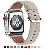 WFEAGL Compatible iWatch Band 38mm 40mm 42mm 44mm, Top Grain Leather Bands of Many Colors for iWatch Series 4,Series 3,Series 2,Series 1 (38mm 40mm, Ivory White Band+Silver Adapter) (Color: Ivory White/Silver, Tamaño: 38mm 40mm)