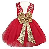 0-12 Years Little Big Flower Girl Dresses for Wedding (140, Red) (Color: Red, Tamaño: 6-7T)