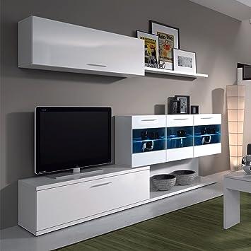 Mueble de salon comedor con Leds ,acabado blanco brillo