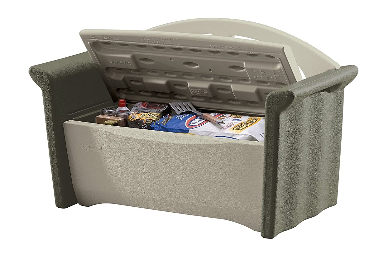 Rubbermaid Outdoor Patio Storage Bench, 4 cu. ft., Olive/Sandstone (FG376401OLVSS)
