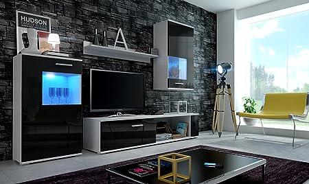 HomeDirectLTD Moderno conjunto de muebles de salón EVE (Cuerpo blanco mate / Puertas negro brilo, LED Azul)