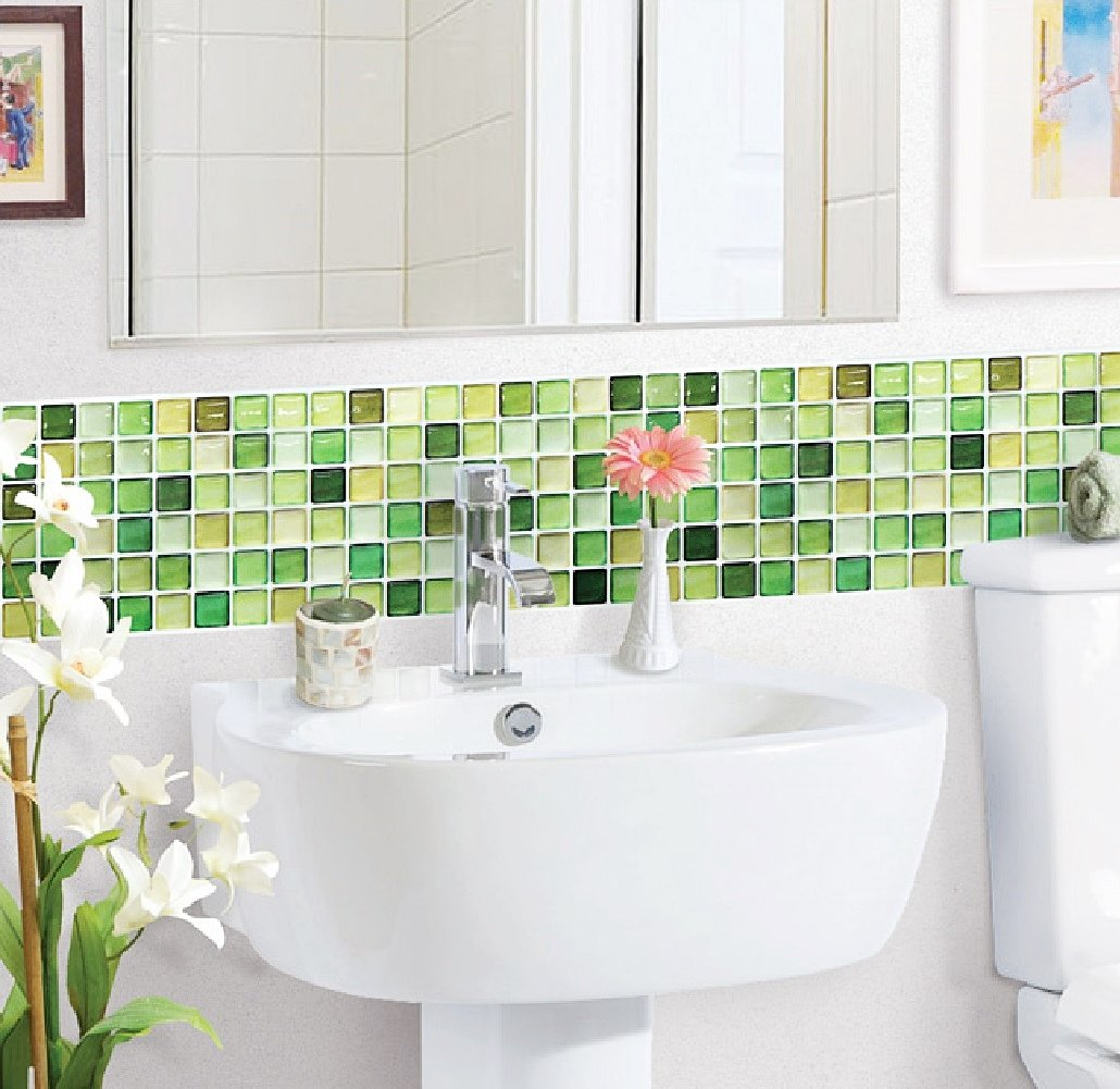 Lime green glass tiles ideas and products for Bathroom decor green and brown