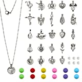 24pcs DIY Pearl Bead Cage Pendants(No Duplicate)-Rhodiulm Coated Zinc Alloy Jewelry Locket with Cotton Pompoms for Essential Oil Aroma Diffuser
