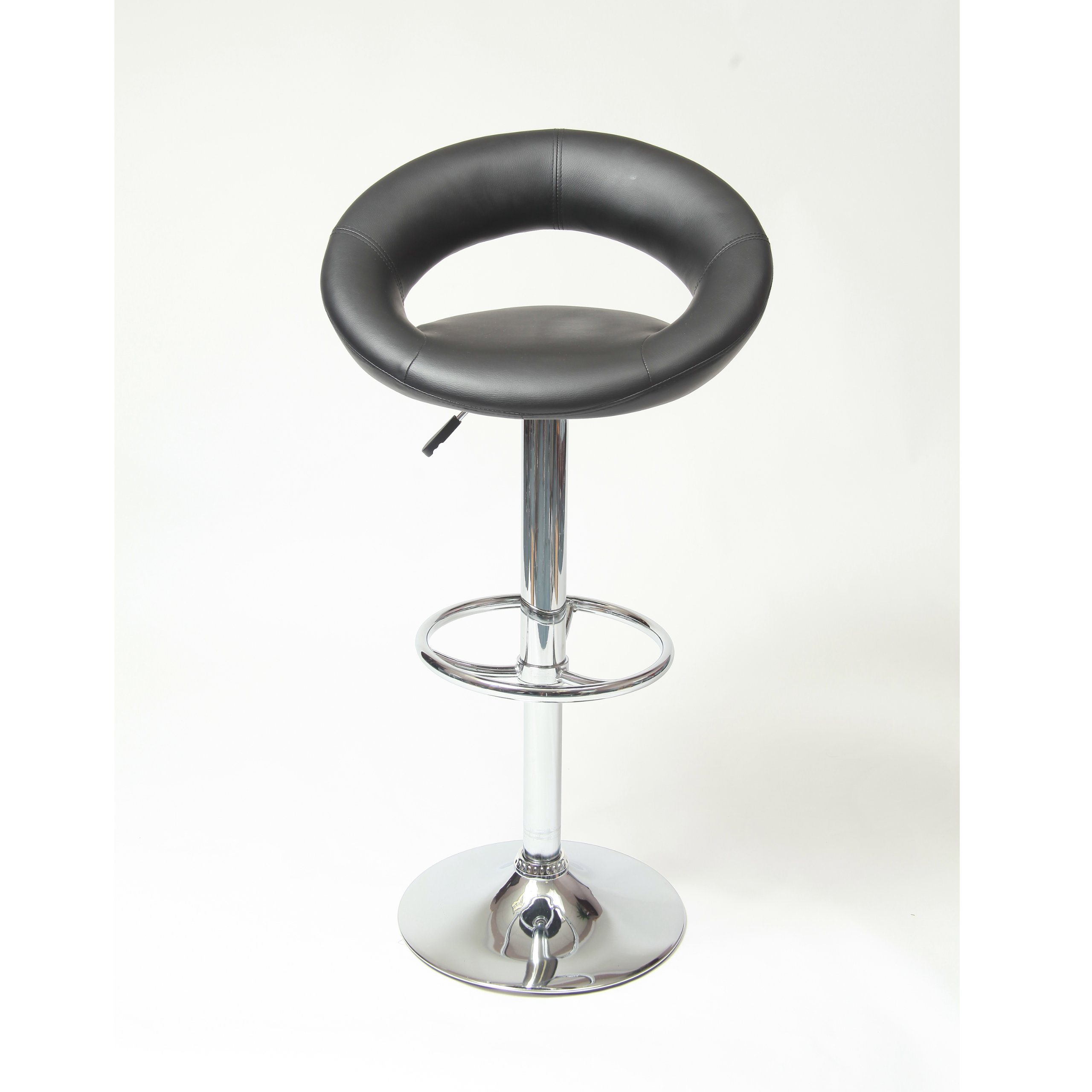 Set Of 2 Leather Seat Contemporary Chrome Adjustable