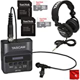 Tascam DR-10L Micro Portable Audio Recorder with Lavalier Microphone Bundle with TH-02 Headphones and 2X 32GB Sandisk SD Memory Cards (Color: Black)