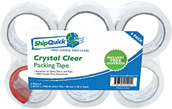 6-Pack ShipQuick Crystal Clear Packing Tape