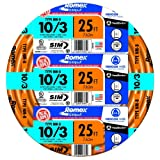 Southwire 63948421 25' 10/3 with ground Romex brand SIMpull residential indoor electrical wire type NM-B, Orange (Tamaño: 10 AWG)