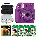 Fujifilm instax Mini 9 Instant Film Camera (Purple with Clear Accents) + Fujifilm Instax Mini Twin Pack Instant Film (80 Shots) + Camera Case + AA Batteries + Accessory Bundle (Color: Purple)
