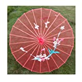 JapanBargain 2186, Japanese Parasol Chinese Asian Nylon Umbrella Parasol for Photography Cosplay Costumes Wedding Party Home Decoration Adult Size, 30 inch, Transparent Red (Color: Transparent Red, Tamaño: 30-inch)