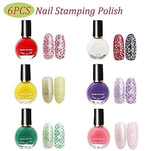 Tingbeauty Nail Art Stamping Plates Kit with 10pcs Stamping Plates 6pcs Stamping Polish 1 Stamper 1 Scraper 1 Nail Polish Remover Pads 1 Nail Liquid Tape 1 Nail Polish (Tamaño: 10pack)