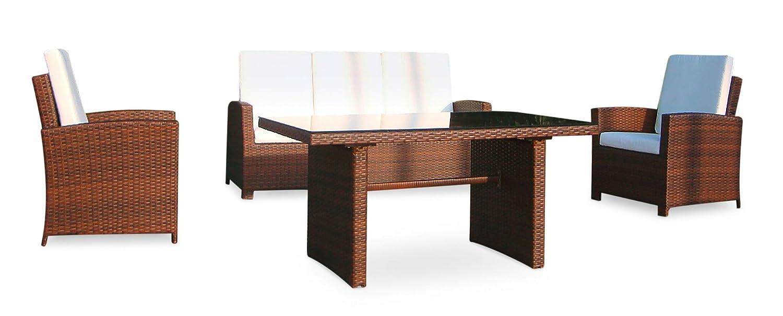 Baidani Gartenmöbel-Sets 10c00039.00002 Designer Rattan Lounge-Garnitur Comfort, 3-er-Sofa, Sessel, Auflagen, Rückenkissen, 1 Tisch mit Glasplatte, braun