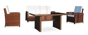 Baidani Gartenmöbel-Sets 10c00039.00001 Designer Rattan Lounge-Garnitur Comfort, 3-er-Sofa, Sessel, Auflagen, Ruckenkissen, 1 Tisch mit Glasplatte, schwarz