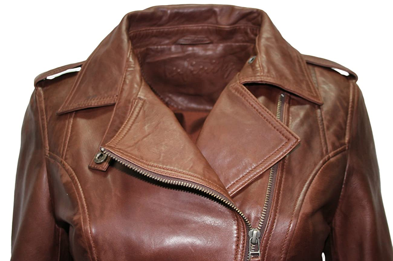 Ladies Retro Brando Chestnut Brown Biker Casual Soft Nappa Leather Jacket 4