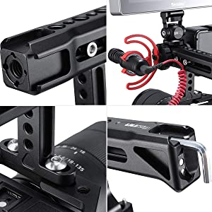 Camera Top Handle Hot Shoe for Cage, 3 Cold Shoe Mount for Light Mic Monitor Stand Arri Positioning Hole DSLR Digital Camera Cage Accessory Kits (Tamaño: R018 Top NATO Handle)