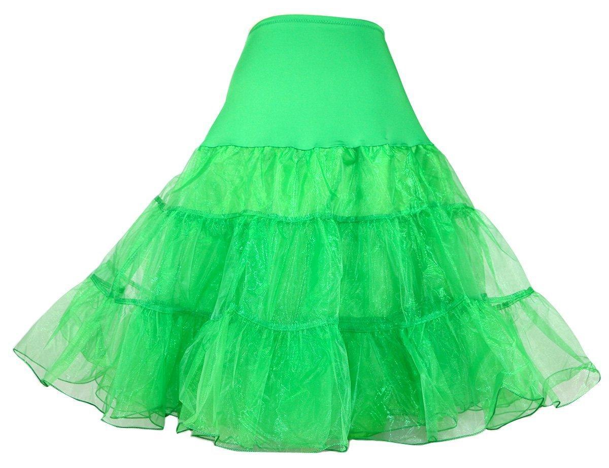 Dance Fairy Reifrock Unterrock Petticoat Knielang für Kleid Ballkleid Abendkleid Brautkleid dehnbare Bund grün S-M