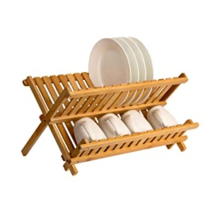 saganizer wooden dish rack plate rack collapsible compact dish drying rack bamboo dish drainer review