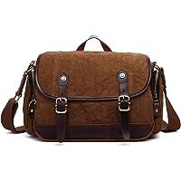 Plambag Canvas Leather Retro Shoulder Messenger Bag (Coffee)