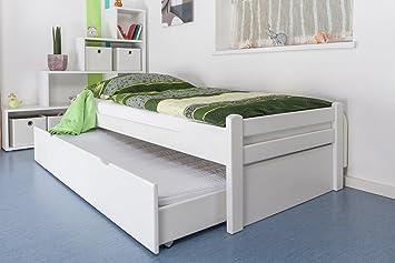 """Einzelbett / Gästebett """"Easy Sleep"""" K1/1h inkl. 2. Liegeplatz und 2 Abdeckblenden, 90 x 200 cm Buche Vollholz massiv weiß lackiert"""