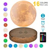Magnetic Levitating Moon Lamp DTOETKD 3D Printing Moon Light Floating and Spinning in Air Freely with Remote Control and 16 Colors,Best Birthday Thanksgiving Christmas Gifts for Baby Kids Lover (Tamaño: M-16colors Levitating Moon Lamp)