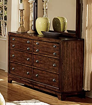Contemporary Country Style in Neutral Fabric and Warm Cherry Finish - Bernal (Dresser)