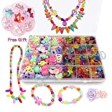 Bead Kits for Jewelry Making - Craft Beads for Kids Girls Jewelry Making Kits Colorful Acrylic Girls Bead Set Jewelry Crafting Set (with Clip-on Earrings) (Color: Style1)