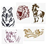 CODOHI 5 Packs Animals Stencils Lion Tiger Horse Wolf Phoenix Reusable Mylar Template - DIY Craft Stencils for Painting 8.2