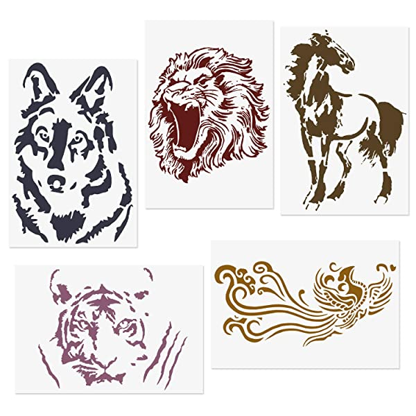 CODOHI 5 Packs Animals Stencils Lion Tiger Horse Wolf Phoenix Reusable Mylar Template - DIY Craft Stencils for Painting 8.2x11.6 (Color: Animal Style 2)