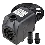 Minerva 400 GPH - Submersible Water Pumps for Aquarium, Tabletop Fountains, Pond, Water Gardens and Hydroponic Systems with One Nozzles, CE-ROHS Approved, 5.9ft Power Cord (Color: B -400 GPH, Tamaño: B -400 GPH)