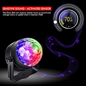 Tabiger Party Lights, Sound Activated Disco Ball Lights with Remote Control DJ Lights, Led Disco Lights (2PCS) (Color: 2pcs)