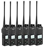 SAMCOM FPCN10A Two Way Radio, 20 Channel GMRS Walkie Talkie UHF 400-470MHz 2 Watt Wireless Intercom with Group Function, Earpiece & Belt Clip Included - Black (Pack of 6) (Color: Pack of 6)