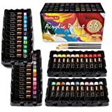 Acrylic Paint Set, Shuttle Art 66 Colors 22ml/Tube with 3 Brushes, Professional Quality, Rich Pigments, Non-Toxic for The Artists Beginners and Kids on Canvas Wood Clay Fabric Ceramic Crafts (Color: 66 Colors Acrylic Paint With 3 Brushes)