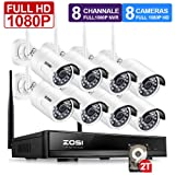 ZOSI 1080P 8CH HD Wireless Security Camera System 8Channel 1080P NVR 2TB Hard Drive and (8) HD 2.0MP 1080P Indoor/Outdoor Bullet IP Cameras 65ft Night Vision, Customizable Motion Detection (Color: 1080P 8CH+8Camera+2TB, Tamaño: 1080P 8CH+8Camera+2TB)