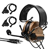 TAC-SKY Comta III Double Plugs Tactical Headset,Ear Protection,Sound Amplification for Airsoft Sport (Coyote Brown) (Color: Coyote Brown)