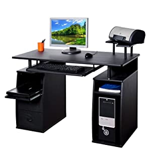 Homcom Large Black Wooden Office Computer PC Table Desk Desktop Home Study Furniture with 2 Drawers and 4 Shelves NEW       Office ProductsCustomer reviews and more information