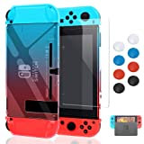 Case for Nintendo Switch,Fit The Dock Station, Protective Accessories Cover Case for Nintendo Switch and Joy-Con Controller - Dockable with a Tempered Glass Screen Protector,Crystal Clear Red & Blue (Color: Red & Blue)