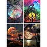 4 Pack 5D Full Drill Diamond Painting Kit, KISSBUTY DIY Diamond Rhinestone Painting Kits for Adults and Beginner Embroidery Arts Craft Home Decor, 15.8 X 11.8 Inch (Moon) (Color: Moon)