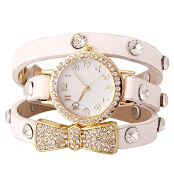 Amazon.com: Sotijobs Mori Girls Rhinestones Chain Wrist Watch PU ...
