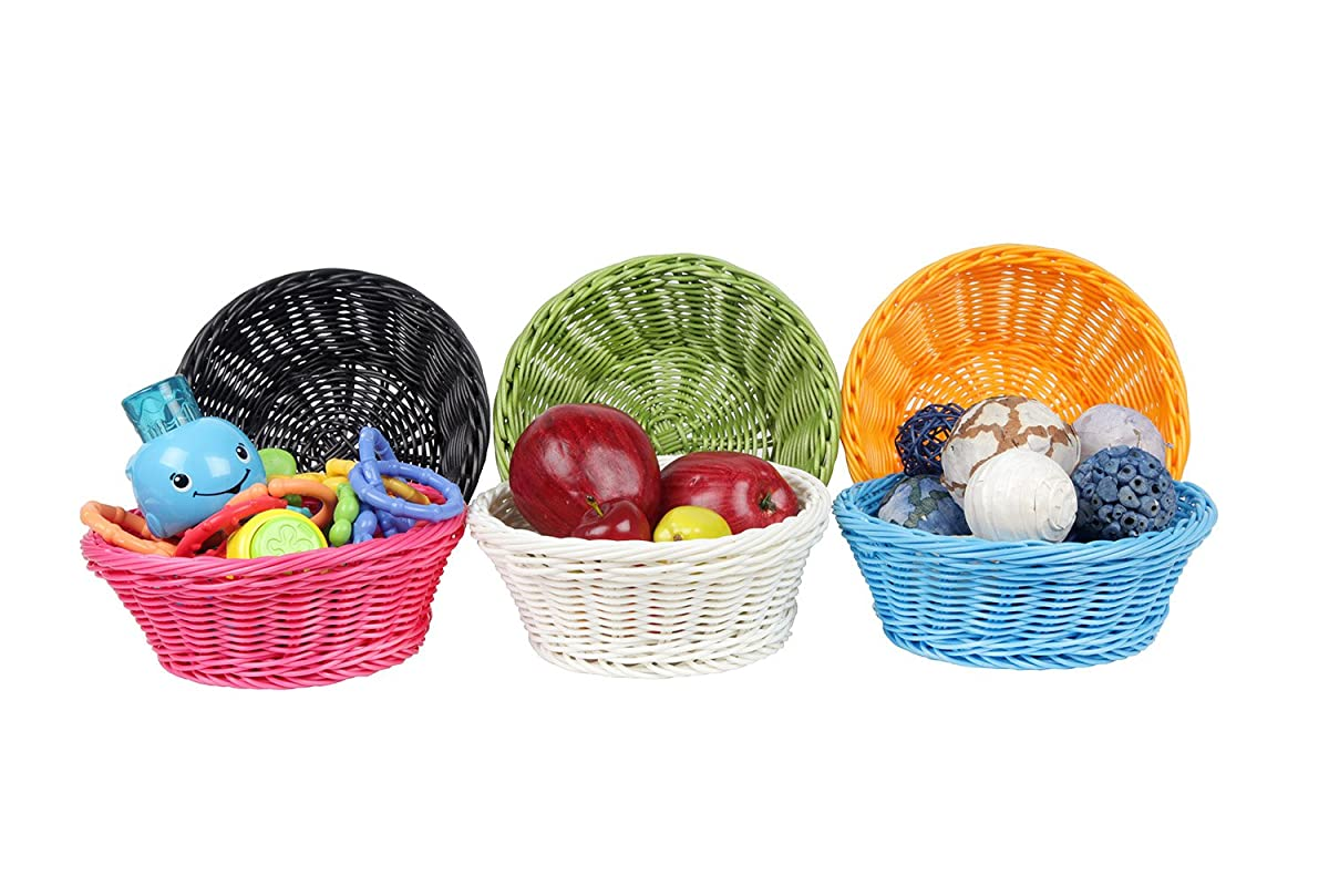 Colorbasket 31117-107 Hand Woven Waterproof Round Basket, White, Set of 3