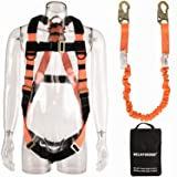 WELKFORDER 1 D-Ring Industrial Fall Protection Safety Harness Kit for Construction With Single Leg 6-Foot Fall Protection Internal Shock Stretchable Lanyard ANSI Complaint for construction (Color: Orange)