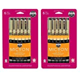 Sakura Pigma 30062 Micron Blister Card Ink Pen Set, Black, Ass't Point Sizes 6CT Set - 2 Pack (Color: Black, Tamaño: 2 Pack (6 Pen Set))