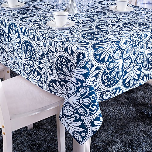 ColorBird Vintage Royalty Washable Floral Print Tablecloth Rectangle Polyester Fashion Table Cover (55''×102'', Blue) (Vintage Floral Tablecloth compare prices)