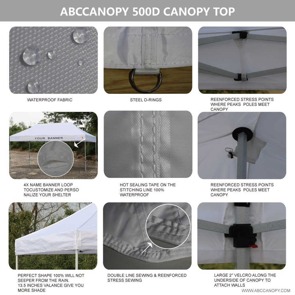 AbcCanopy PRO 10 X 20 Ez Pop up Canopy Tent Commercial Instant Gazebos with Roller Bag and 6x Weight Bag (white)